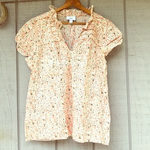 LOFT Pink Floral Puff Sleeve Cotton Boho Blouse XL